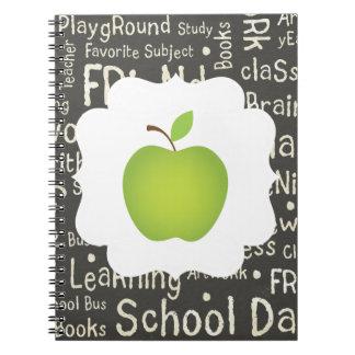 Green Apple on Chalkboard Background Notebook