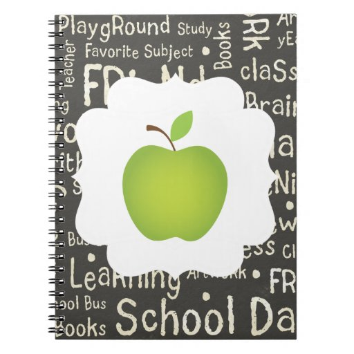 Green Apple on Chalkboard Background Notebooks