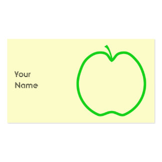 Green Apple Outline. Double-Sided Standard Business Cards (Pack Of 100)