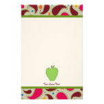Green Apple & Paisley Personalized Teacher Stationery