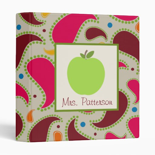Green Apple & Paisley Teacher Binder