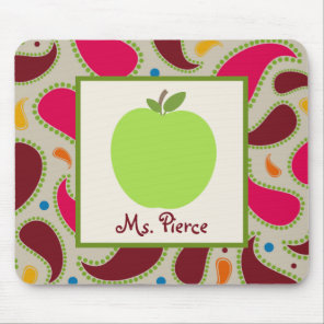Green Apple / Paisley Teacher Mouse Pad