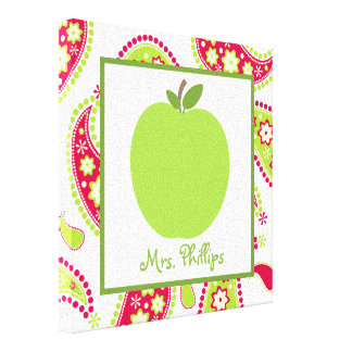 Green Apple Paisley Wrapped Canvas For Teacher Canvas Print
