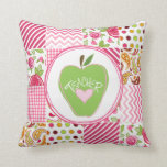 Green Apple & Patchwork Inpsired Teacher Pillow