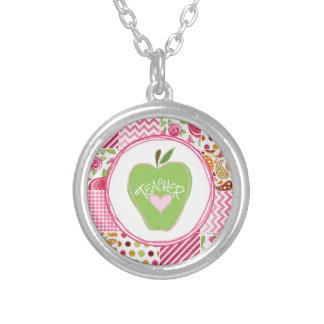 Green Apple & Patchwork Teacher Necklace