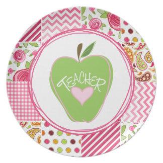 Green Apple & Patchwork Teacher Plate