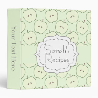 Green Apple Pattern Recipe Book 3 Ring Binder