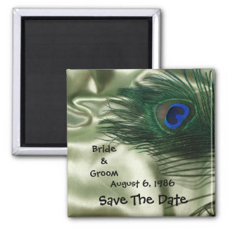 Green Apple Peacock Sill Life Save the Date 2 Inch Square Magnet