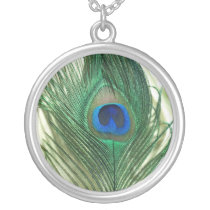 Green Apple Peacock Sill Life Silver Plated Necklace