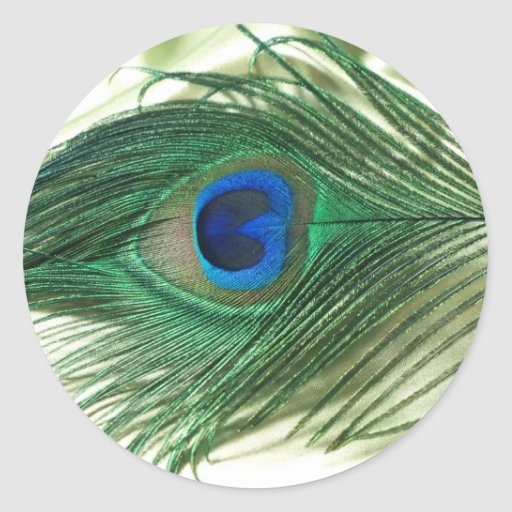 Green Apple Peacock Sill Life Classic Round Sticker