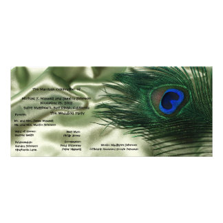 Green Apple Peacock Sill Life Wedding Program Rack Card