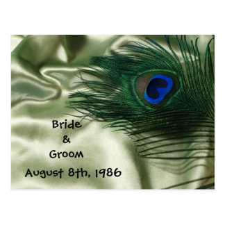 Green Apple Peacock Still Life Save the Date Postcard