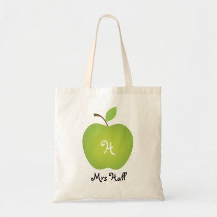 Green Apple Personalized Teacher's Tote Budget Tote Bag