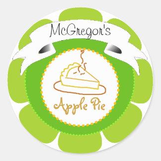 Green apple pie label classic round sticker