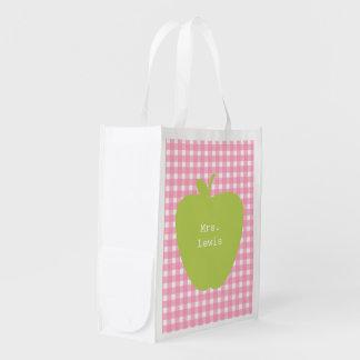 Green Apple Pink Gingham Teacher Reusable Grocery Bag