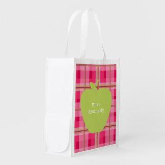 Green Apple Pink Plaid Teacher Market Tote