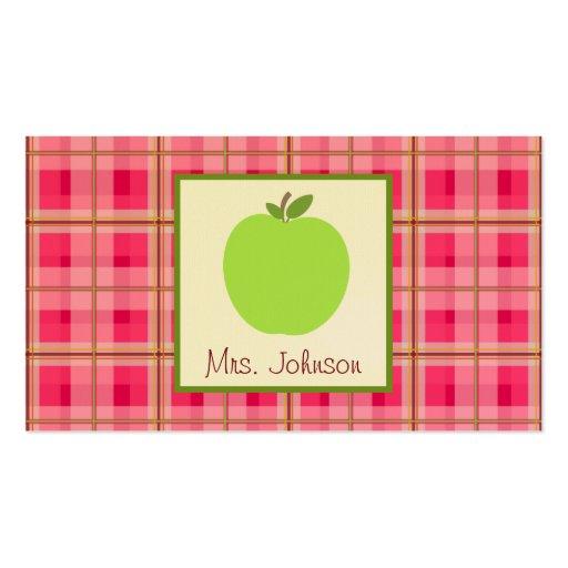 Green Apple & Plaid Teacher Business Cards