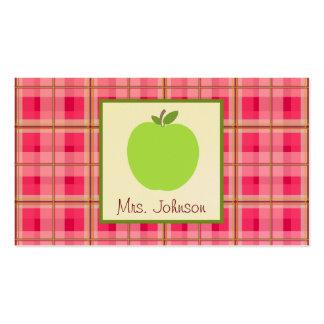 Green Apple Plaid Teacher Business Cards