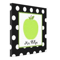 Green Apple Polka Dot Wrapped Canvas For Teacher