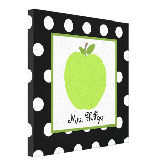 Green Apple Polka Dot Wrapped Canvas For Teacher Canvas Print