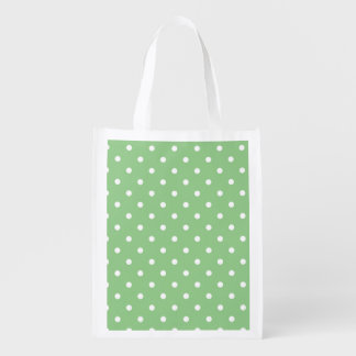 Green Apple Polka Dots Reusable Grocery Bag