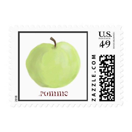 Green Apple Postage Stamp
