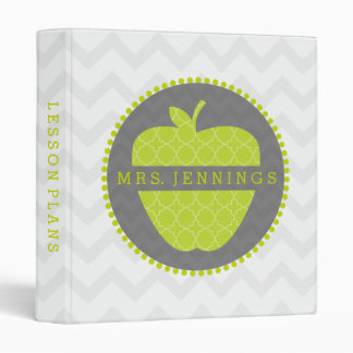 Green Apple Quatrefoil Teacher Binder