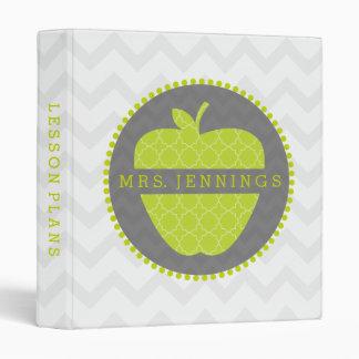 Green Apple Quatrefoil Teacher Binder