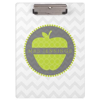 Green Apple Quatrefoil Teacher Clipboard