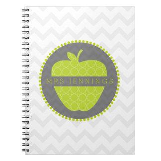 Green Apple Quatrefoil Teacher Notebook