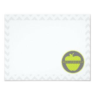 Green Apple Quatrefoil Teacher Post Its Card