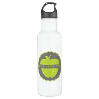 Green Apple Quatrefoil Teacher Water Bottle