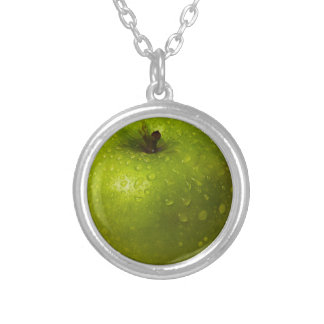 Green apple silver plated necklace