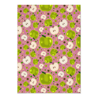 Green Apple Slices Pattern 5x7 Paper Invitation Card