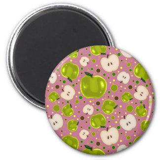 Green Apple Slices Pattern Fridge Magnet