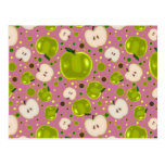 Green Apple Slices Pattern Post Cards