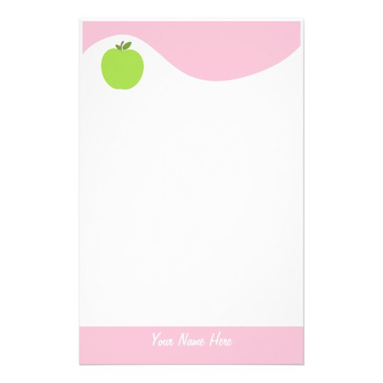 Green Apple Stationery With Pink