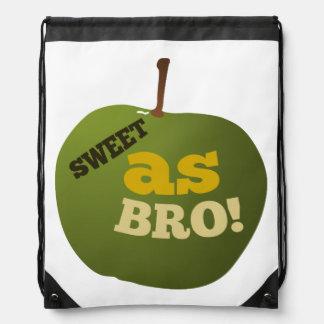Green apple SWEET AS BRO Drawstring Backpack