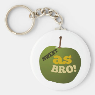 Green apple SWEET AS BRO Keychain