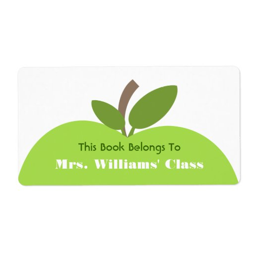 Green Apple Teacher Bookplate For Classroom Personalized Shipping Label