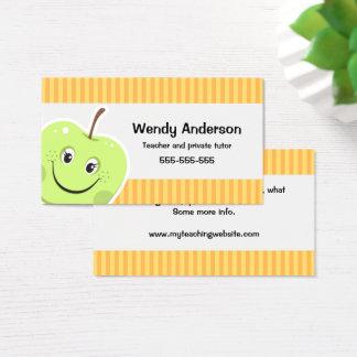Green apple teacher or private tutor business card