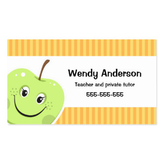 Green apple teacher or private tutor business card