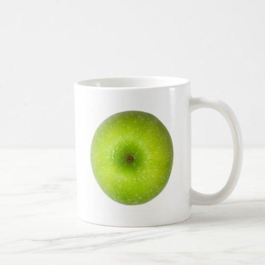 Green apple top view coffee mug