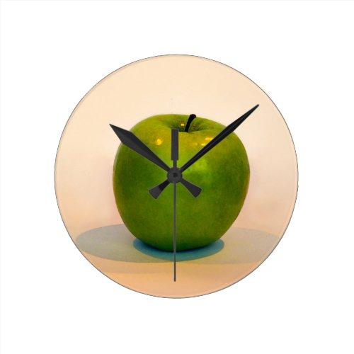Green Apple Trio Round Clock