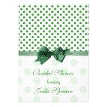 Green apple white polka dot Bridal shower Invite