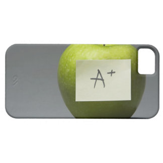 Green apple with adhesive note with letter A and iPhone SE/5/5s Case