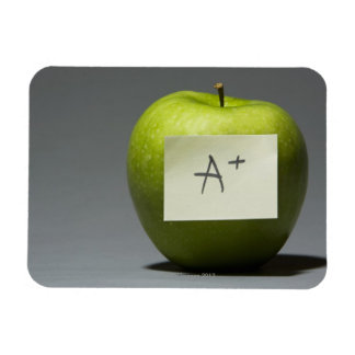 Green apple with adhesive note with letter A and Rectangular Photo Magnet