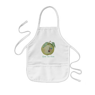 Green apple with funny maggot in hat illustration kids' apron