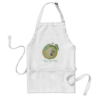 Green apple with funny maggot in hat illustration apron