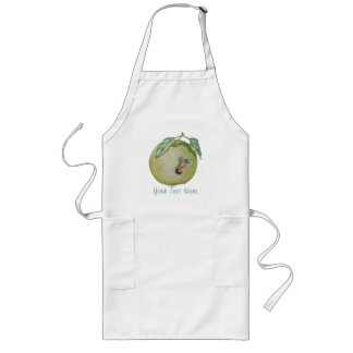 Green apple with funny maggot in hat illustration long apron